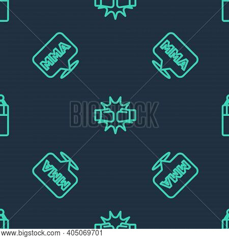 Set Line Punch In Boxing Gloves, Fight Club Mma And Punching Bag On Seamless Pattern. Vector