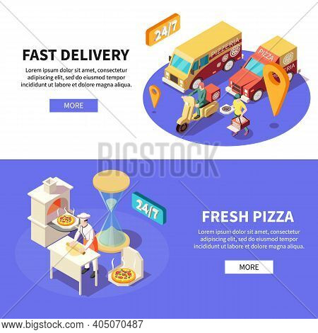 Pizza Production Pizzeria Isometric Set Of Horizontal Banners With Text Clickable Button Kitchen And