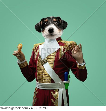 Fried Chicken. Model Like Medieval Royalty Person In Vintage Clothing Headed By Dog Head On Pastel G