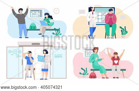 A Set Of Illustrations On The Topic Of Studying A Work Plan. People Play Under The Supervision Of Sc