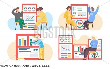 Set Of Illustrations On The Topic Of Working With Statistical Indicators. Business People Analyze Re