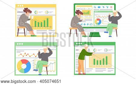 Woman And Man Reports Standing Near Presentation With Charts Talking To Colleague. Business Meeting,