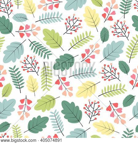 Ornate Trendy Seamless Vector Ditsy Pattern Design Of Spring Color Exotic Leaves. Artistic Vector Fo