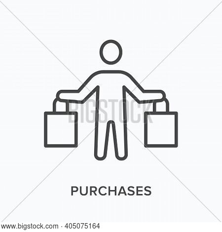 Purchses Flat Line Icon. Vector Outline Illustration Of Customer With Bags. Black Thin Linear Pictog