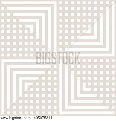 Vector Geometric Seamless Pattern With Lines, Stripes, Squares, Arrows, Repeat Tiles. Simple Beige A