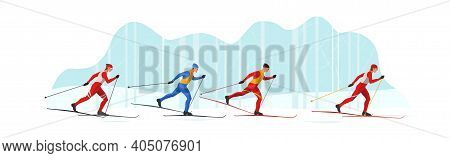 Skiers In Sportswear Are Skiing With Ski Poles And Skis. Athletes Participate In Winter Sports Compe