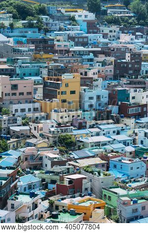 Colorful Pastel Buildings Of The Gamcheon Cultural Villiage In Busan South Korea.