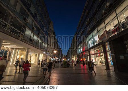 Belgrade, Serbia - May 9, 2020: Kneza Mihailova Street At Dawn, Crowded. Also Known As Knez Mihaila,