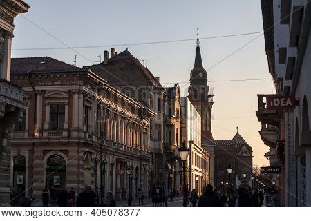 Subotica, Serbia - March 28, 2019: People Walking And Sitting On The Pedestrian Street Of Korzo, The