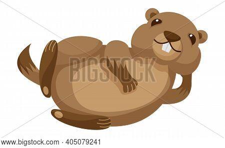 Cute Chubby Cartoon Beaver, Little Kawaii Mascot Character. Isolated Vector Clip Art Illustration.
