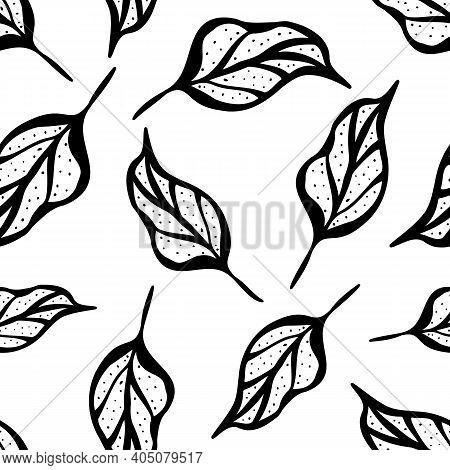 Inky Black And White Leaf Seamless Vector Pattern Background. Botanical Vintage Illustration Style H