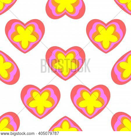 Seamless Pattern From Hearts And Flowers, Background. Spring, Summer Colors. Motley Flat Design For