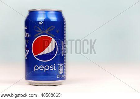 Kharkov, Ukraine - December 8, 2020: Aluminium Can Of Pepsi Soft Drink Close Up. Pepsi Is Carbonated
