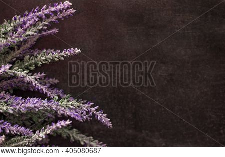 Artificial Decorative Heather Lavender Flowers On Dark Wooden Background, Copy Space For Text