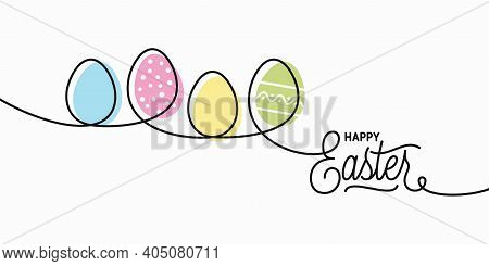 Happy Easter Card. Easter Banner On White