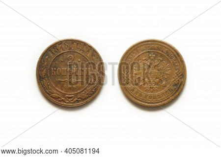 1876 Copper Coin Of Russia Isolated On White Background