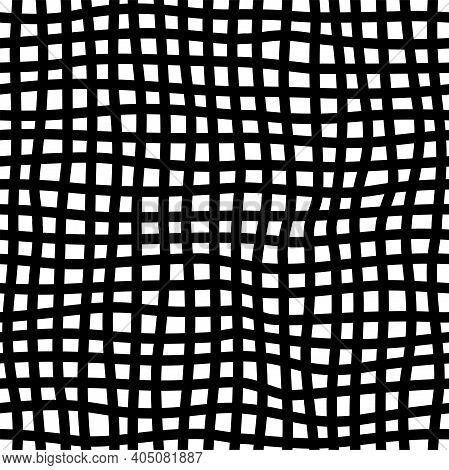 Checkered Handdrawn Seamless Pattern. Irregular Diagonal Lines Doodle Drawing. Freehand Line Art. Mo