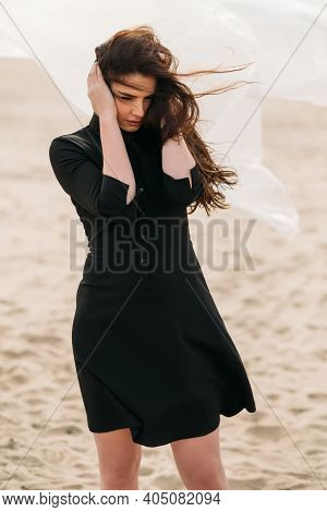 Desperate Woman. Mistake Regret. Sorrow Grief. Portrait Of Depressed Anxious Brunette Lady In Black