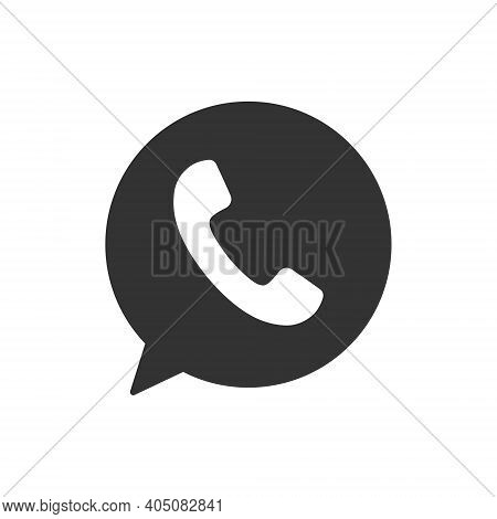 Phone And Bubble Icon. Black Silhouette Chat With Handset. Message Symbol. Vector Isolated On White.