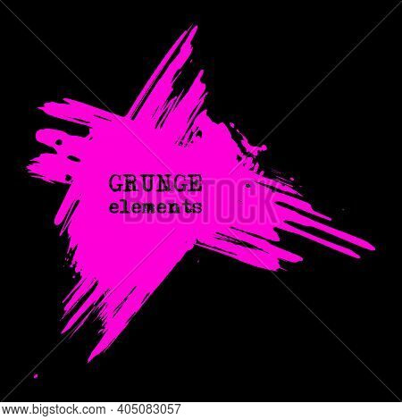 Vector Splats Splashes And Blobs Of Pink Ink Paint In Different Shapes Drips Isolated On Black