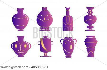 Set Of Flower Vase Gradient Lilac Fill, Vector Illustration Isolated On White Background. Kintsugi.
