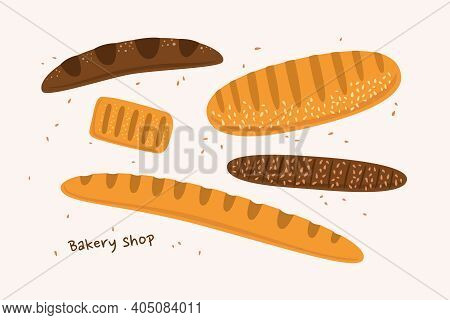Set Of Loaves Of Different Sizes And Shapes In Cartoon Style. French Baguette, Loaf, Puff Pastry. Fl