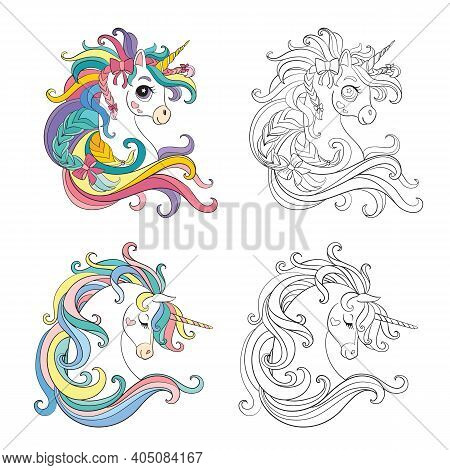 Set Of Cute Cartoon Heads Of Unicorns. Monochrome And Colorful. Vector Isolated Illustration. For Co