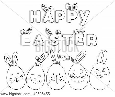 Happy Easter. Coloring Book For Children With Easter Bunnies, Lettering. Easter Eggs. Happy Easter L