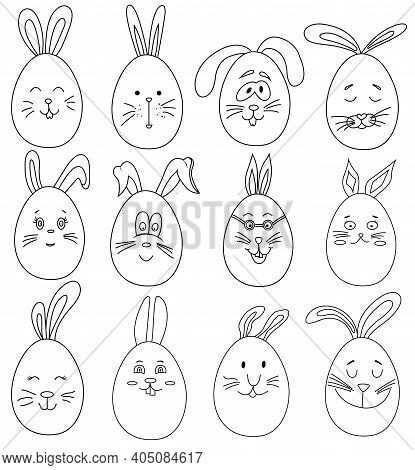 Coloring Page Happy Easter Set. Collection Easter Bunny Eggs. Vector Characters For Easter. Outline