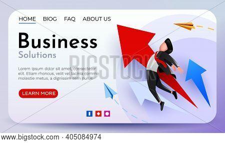 Businessman Rising On A Growing Arrow. Business Success.