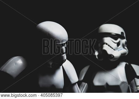 JAN 25 2021: dramatic lighting portrait of Star Wars Imperial Stormtroopers  - Hasbro action figure