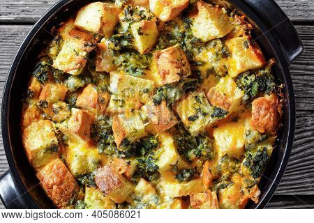 Italian Spinach Strata Of Soaked Overnight Cubed Sandwich Bread And Baked With Chopped Spinach And S