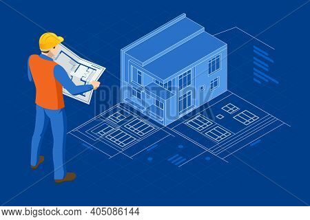 Isometric Builders On Building Site Looking At Plan. Virtual Reality Construction Project Management