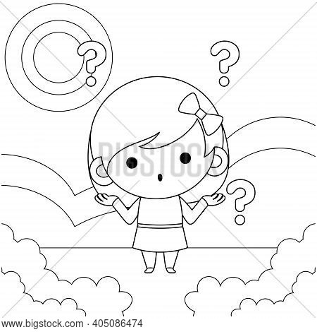 Illustration Vector Graphic Of Coloring Book For Girl. Cartoon Illustration Cute Little Girl Confuse