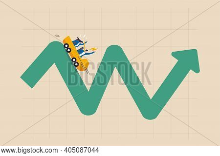 Investment Volatility Metaphor Of Riding Roller Coaster, Financial Stock Market Fluctuation Rising U