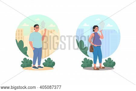 Smoking 2d Vector Web Banner, Poster Set. Unhealthy Lifestyle. Bad Habit. Smoker Flat Characters On