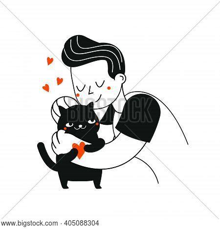 Man Kindly Hug Cat. Pets Lover Illustration. Animal Care Concept Art