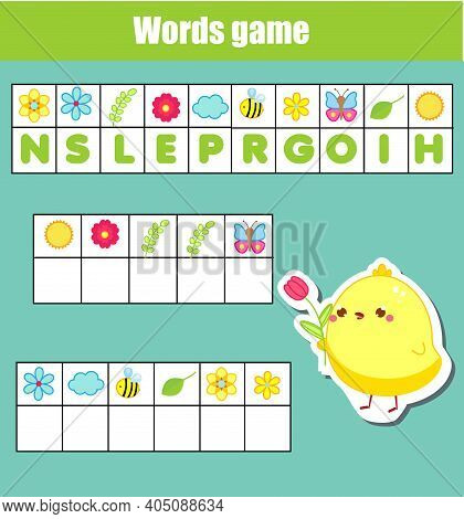Educational Game For Children. Word Puzzle Kids Activity. Spring Theme Fun For Toddlers