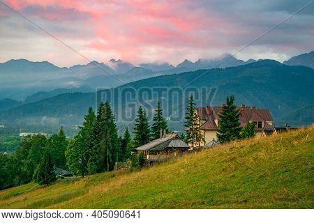 Amazing View Of Hillside Near Zakopane, Poland At Spring Morning, High Tatra Mountains Under Burning