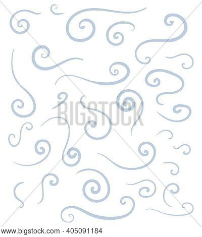 Vector Set Of Stylized Snow Swirls And Wind Blows. Light Blue Cool Smooth Lines For Decoration.