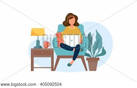 Distance Learning Online Education. Woman With Laptop At Home. Startup Business