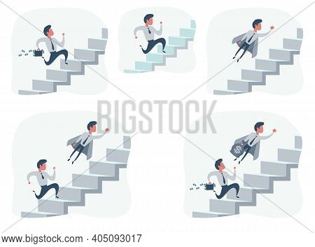Businessman Running Up Stair To Success. Stair Step To Success. Staircase To Success. Set. Cartoon V