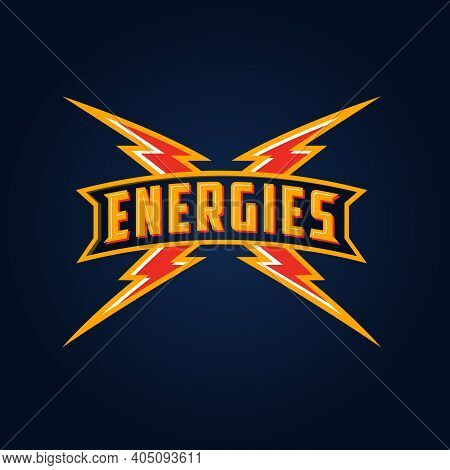 Energies Logo With Lightning. Lightning Icon. Letters On Sign And Lightning On The Dark Background.