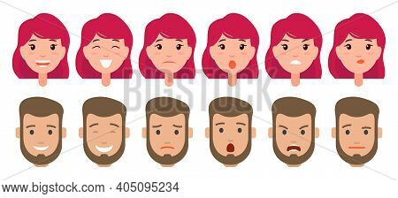 Collection Of Female And Male Heads With Different Emotions. Pretty Young Girl With Pink Short Hairs