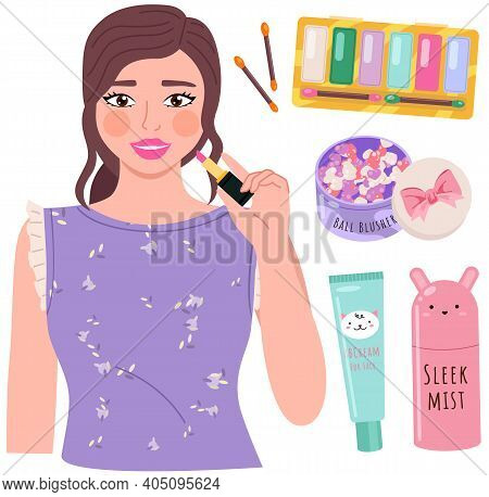 Beautiful Young Girl Makes Look And Does Makeup, Looks After Beauty And Paints Lips Isolated On Whit