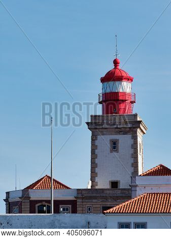 Close-up Of  Lighthouse At Cabo Da Roca In Portugal Which Situated In The Westernmost Point Of Mainl