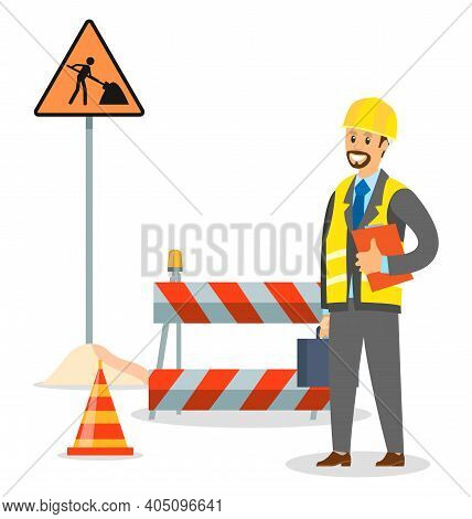Foreman On The Road Repair Section. Male Engineer In Hard Hat. Maintenance And Construction Of Pavem