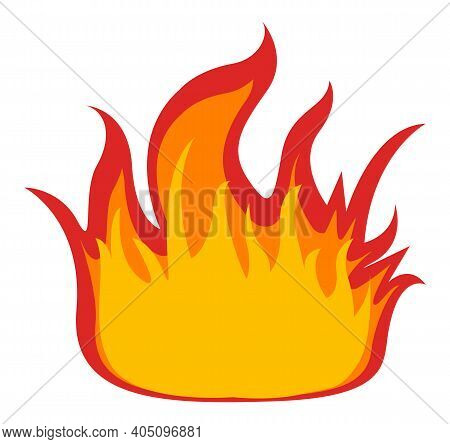 Symbol Of Fire Isolated On White Background. Vector Illustration High Bright Flame Yellow And Red Co