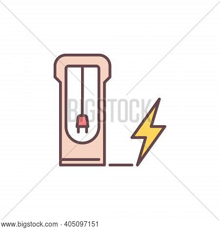 Ev Recharging Point Vector Concept Colored Icon Or Sign