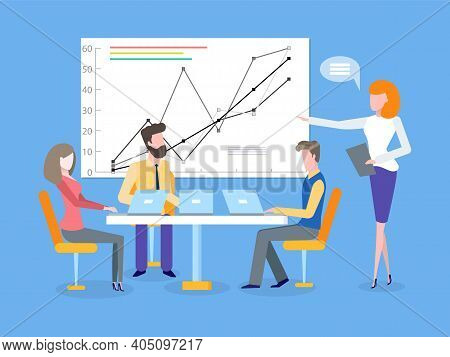 Infographic With Lines And Dots Vector. Whiteboard Screen And Information On Sheet, Presenter Orator
